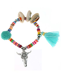 Fashion Green Ox Head&tassel Decorated Color Matching Bracelet