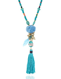 Fashion Dark Blue Tassel Pendant Decorated Long Necklace