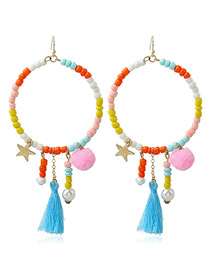 Fashion Multi-color Stars&tassel Decorated Color Matching Pom Earrings