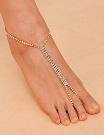 Fashion Gold Color Full Diamond Decorated Pure Color Anklet(1pc)