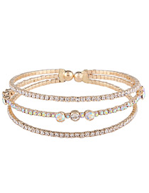 Fashion Gold Color Pearls&diamond Decorated Multi-layer Bracelet
