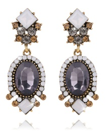 Elegant Dark Gray Geometric Shape Diamond Decorated Earrings