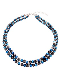 Fashion Multi-color Round Shape Decorated Double Layer Necklace