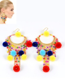 Fashion Multi-color Pompom Ball Decorated Color Matching Earrings