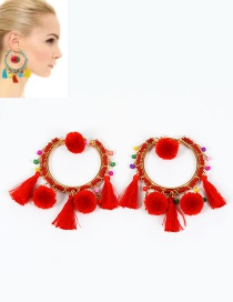 Trendy Red Pompom Ball&tassel Decorated Color Matching Earrings
