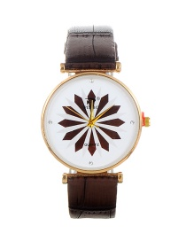 Fashion Brown Flower Pattern Decorated Round Dail Watch