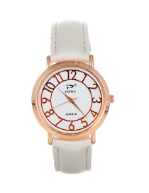 Trendy White Dail Shape Decorated Pure Color Simple Watch