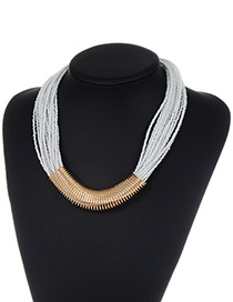Fashion White Bead Decorated Multi-layer Color Matching Necklace
