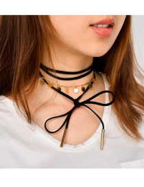 Vintage Gold Color Bowknot Decorated Double Layer Choker