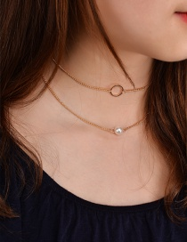 Elegant Gold Color Round Shape Decorated Double Layer Choker