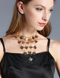 Exaggerate Gold Color Rose Shape Decorated Multilayer Necklace