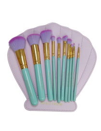 Lovely Green Pure Color Decorated Cosmetic Brush (10pcs +cosmetic bag)