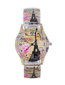 Fashion Khaki Eiffel Tower Pattern Decorated Watch