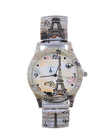 Lovely Beige Eiffel Tower Pattern Decorated Watch