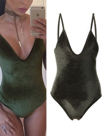 Sexy Army Green V-neckline Decorated Swimwear