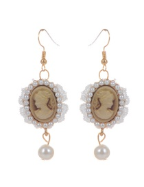 Bohemia White Portrait Decorated Earrings