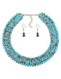 Luxury Blue Round Shape Decorated Jewelry Sets