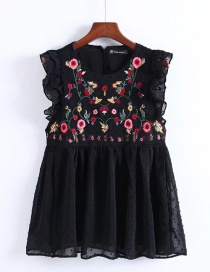 Fashion Black Embroidered Fabric Decorated Simple Sleeveless Shirt