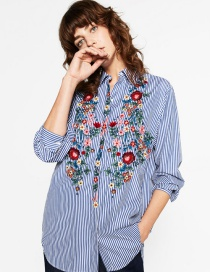 Fashion Blue Embroidered Fabric Decorated Simple Long-sleeved Sark