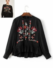 Elegant Black Embroidered Fabric Decorated Simple Long-sleeved Shirt