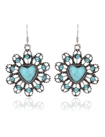 Fashion Blue Flower Decorated Hollow Out Simple Earrings