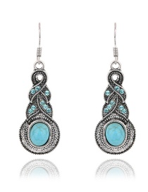 Fashion Blue Round Gemstone Decorated Simple Earrings