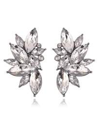 Fashion Silver Color Oval Diamond Decorated Pure Color Earrings