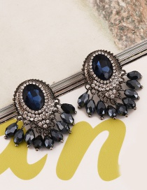 Fashion Blue Round Diamond Decorated Pure Color Earrings