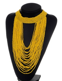Exaggerate Yellow Bead Decorated Pure Color Multilayer Necklace