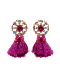 Bohemia Purple Hollow Out Round Shape Decorated Tassel Earrings