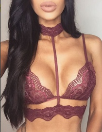 Sexy Red Choker Decorated Perspective Lingerie