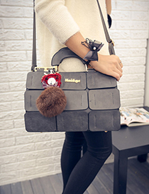 Fashion Gray Fuzzy Ball Decorated Grid Shape Shoulder Bag