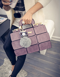 Fashion Purple Fuzzy Ball Decorated Grid Shape Shoulder Bag