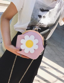Fashion Pink Flower Decorated Shell Shape Shoulder Bag