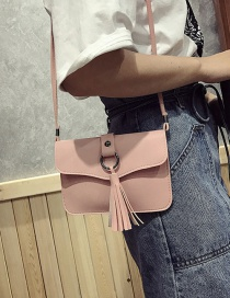 Fashion Pink Tassel Pendant Decorated Pure Color Shoulder Bag