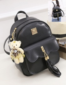 Fashion Black Bear&tassel Decorated Simple Backpack(2pcs)