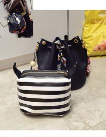Fashion Black Tassel Decorated Simple Shoulder Bag(2pcs)