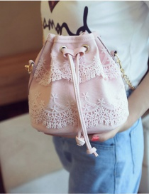 Fashion Pink Pure Color Decorated Lace Shoulder Bag