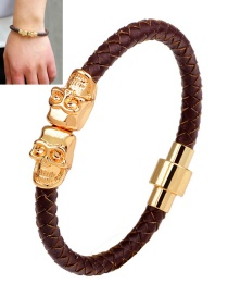 Fashion Brown Skull Decorated Hand-woven Magnetic Buckle Bracelet