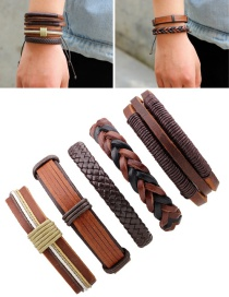 Fashion Brown Color Matching Decorated Simple Bracelet(5pcs)