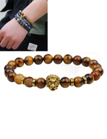 Fashion Brown Lion Decorated Pure Color Simple Bracelet