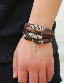 Fashion Coffee Feather&hooks Decorated Multi-layer Bracelet