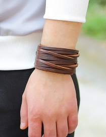 Fashion brown Pure Color Decorated Multi-layer Bracelet