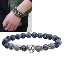 Fashion Brozne Lion Decorated Pure Color Simple Bracelet