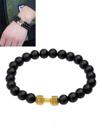 Fashion Gold Color Dumbbells&bead Decorated Pure Color Bracelet