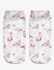 Fashion Multi-color Printing Flamingo Pattern Decorated Color Matching Sock