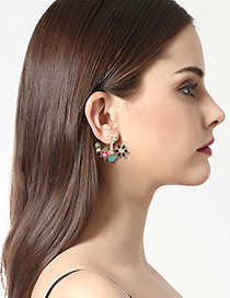 Fashion Multi-color Flowers&diamond Decorated Color Matching Earrings