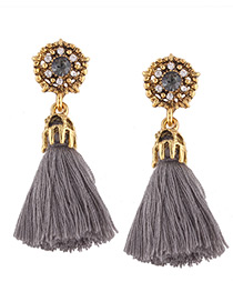 Fashion Gray Tassel&diamond Decorated Simple Earrings
