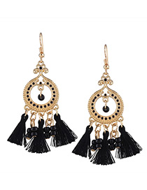 Fashion Black Beads&tassel Decorated Simple Earrings