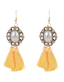 Fashion Yellow Pearls&tassel Decorated Simple Earrings